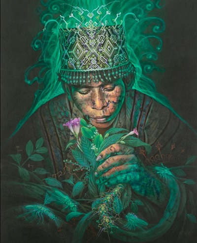 Shipibo healer with plants, geometry, and a snake
