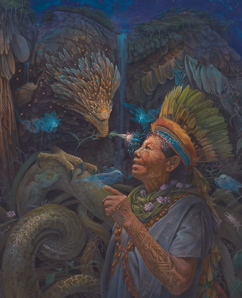 painting of an elder healer with eagle, tobacco, snakes, ayahuasca and other jungle animals