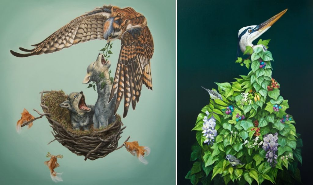 mother hawk feeding baby wolves in her nest built by fish. the second image is a crane being strangled by beautiful vines.
