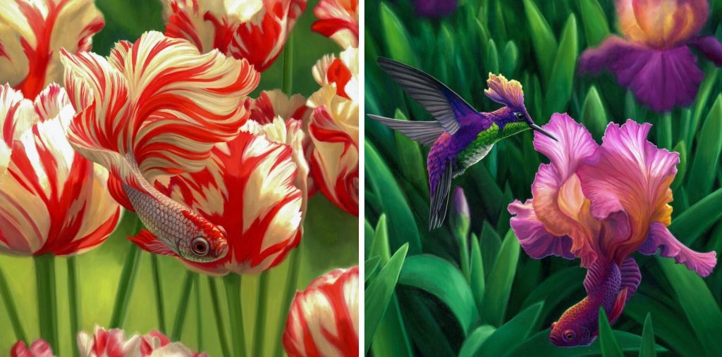 red and white striped guppy with red and white striped flowers, and to the right, a hummingbird sipping nectar from a flower that is also the tail of a guppy, in matching colors of purple, pink, and peach.